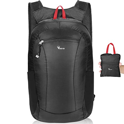 - Voova Lightweight Backpack,Ultra Lightweight Packable Backpack Water Resistant Hiking Daypack for Women Men,Small Backpack Handy Foldable Climbing Camping Outdoor Backpack Little Bag,20L,Black