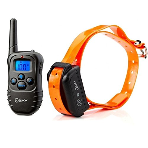 Esky 300M Range Rechargeable LCD Remote Shock Control Pet Dog Training Collar with 100 Level of Vibration 100 Level of Static Shock Tone For 15-120lb Dog