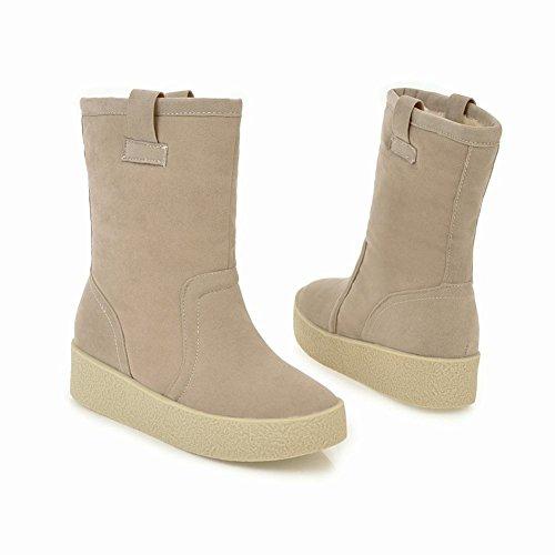 Latasa Dames Faux Nubuck Platte Korte Slouch Boots Beige