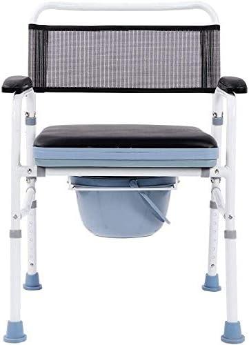Silla plegable y asiento de inodoro acolchado, andador de aleación de aluminio de altura ajustable para personas mayores, discapacitados, abuelos