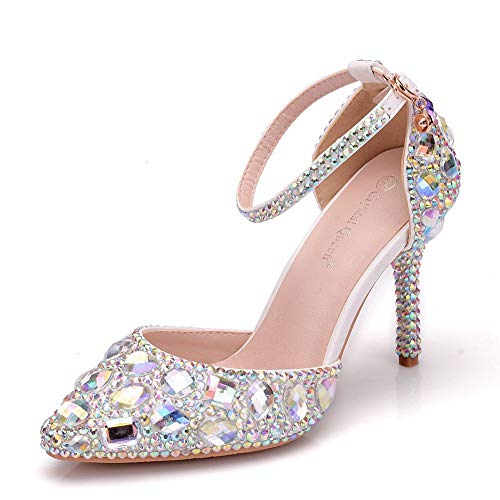 (Royal Blue Rhinestone Sandals Thin High Heels Pointed Toe Sandals Blue Crystal Heels Shoes Fashion High Heel Shoes (38 M EU / 7.5 B(M) US, AB)