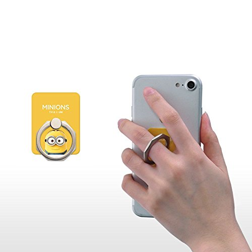 Despicable Me - Minions Phone Ring Metal Phone Holder 360 Degree Rotating Finger Grip Semi-permanent Gel Pad Anti Drop Holder Easy Operation with One Hand for Cell phone, Smartphone, Tablet -