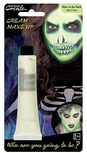 Ladies Mens Boys Girls Glow In The Dark Cream Make Up Face Paint Spooky Scary Skeleton Ghost Halloween Fancy Dress Costume Accessory -