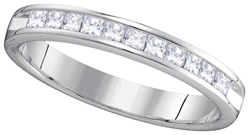 14kt White Gold Womens Princess Diamond 3mm Wedding Band Ring 1/2 Cttw by JawaFashion