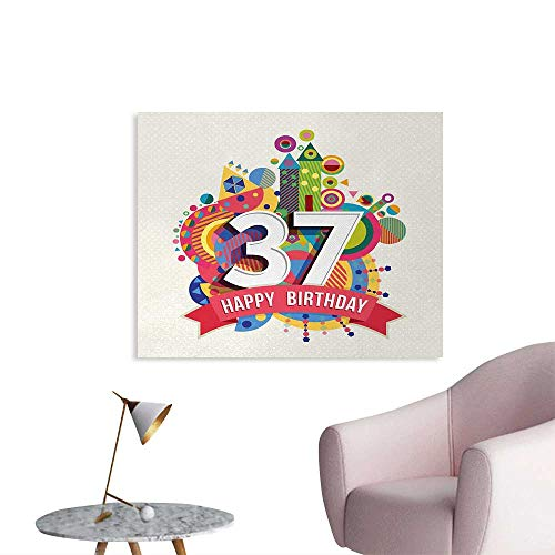 Tudouhoho 37th Birthday Poster Paper Geometric Themed Abstract Celebration Figures Funky and Retro Pattern Print Photographic Wallpaper Multicolor W32 - Wallpaper Pattern Imagine