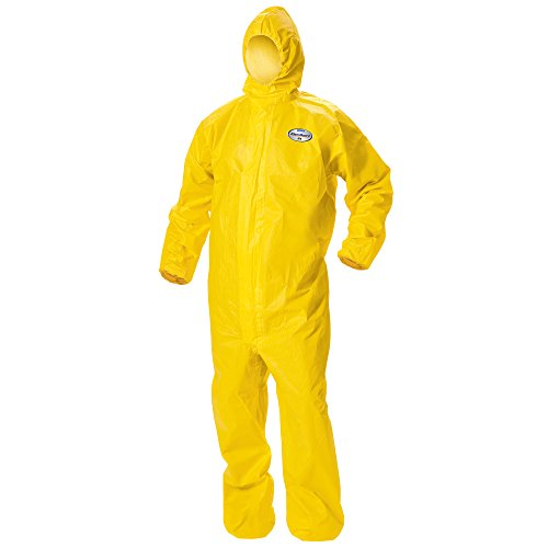 Protection A70 Spray Chemical - Kleenguard A70 Chemical Spray Protection Coveralls (09814) Suit, Hooded, Zip Front, Elastic Wrists & Ankles, XL, Yellow, 12 Garments/Case