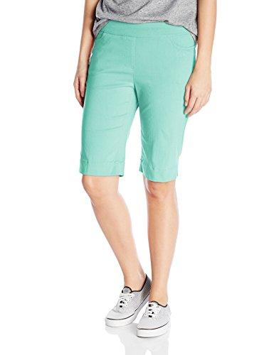 SLIM-SATION Women's Wide Band Pull-On Solid Walking Short, Aqua, 16 Pull On Spandex Shorts
