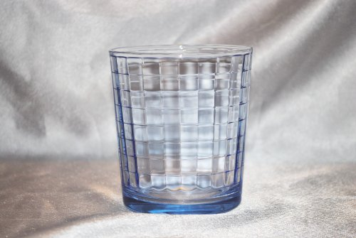 Pasabache Blue Block Optic Glasses Set of Four Double Old Fashioned Tumblers