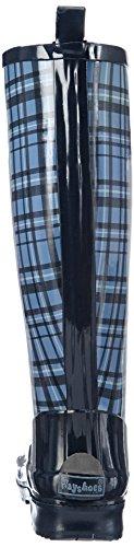 Blau Azul Estar Playshoes Zapatillas Casa 7 Mujer Bleu Por De blau Blue Caucho Boots Wellies Plaid Wellington TTq6Bw