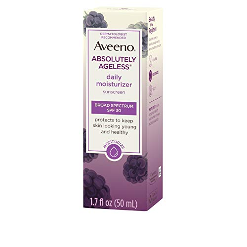 41632tX0tqL - Aveeno Absolutely Ageless Daily Facial Moisturizer with Broad Spectrum SPF 30 Sunscreen, Antioxidant-Rich Blackberry Complex, Vitamins C & E, Hypoallergenic, Non-Comedogenic & Oil-Free, 1.7 fl. oz
