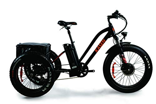 kasen Electric Tricycle Three Wheel 500W Electric Trike 24 Inch Front Fat Tire Ebike 48V 10.4Ah Lithium Battery Rear Basket Cargo K-8.0 3 Wheels Electric Bikes with Supension Fork for Adult (Black)