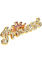 "Gold Tone Bling *LARGE* 2-1/4"" wide PRINCESS Lettered Stretch Ring Topped with Pink Crystal Crown"