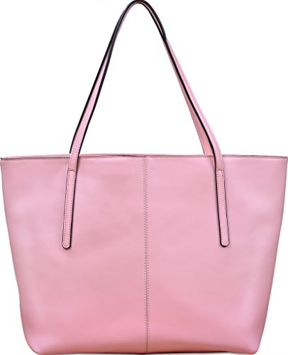 "Yahoho Women's Genuine Leather Fashion Tote Shoulder Bag Zipper Closure fit 13"" Laptop Pink"