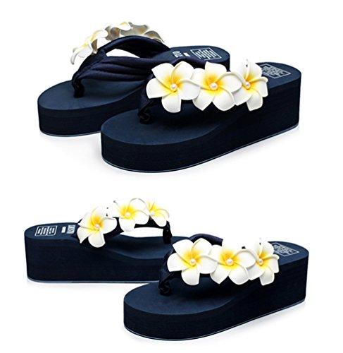 YOUJIA Mujeres Boho Flores Chanclas Verano Playa Zapatos de cuña Plataforma Zapatillas #6 Azul