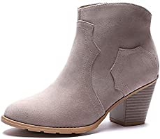 GUCHENG Women's Ankle Boots - Low Heel Pumps Round Toe Suede Stacked Western
