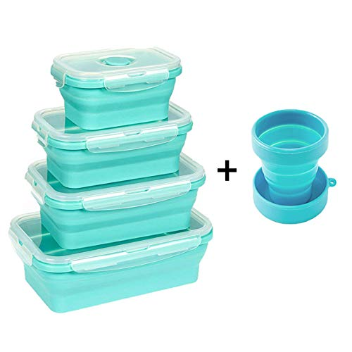 MINIYO-Silicone Food Storage Containers (set of 4), Folding Lunchbox-Small and Large Collapsible Meal Prep Container, Lunch Bento Boxes-Microwave and Freezer Safe by MINIYO