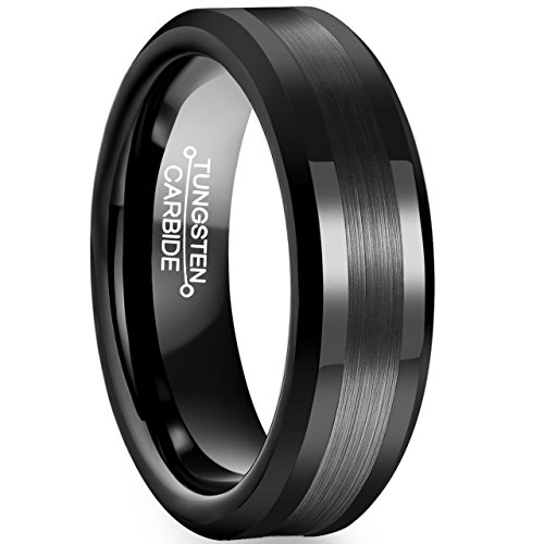 FCL Rings for Men Tungsten Carbide Wedding 6mm Black Plated Matte Brushed Center Polished Edge Size - Tuscan Rings Wedding