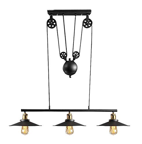SXMY Iron Three-Light Indoor Island Pulley Pendant Ceiling Light Lighting Fixture Oil Polished Finish with Highlights and Metallic Bronze Interior ()