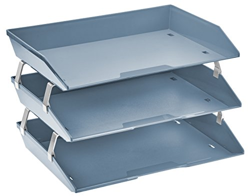 Aluminum Letter Tray - Acrimet Facility Triple Letter Tray (Solid Blue Color)