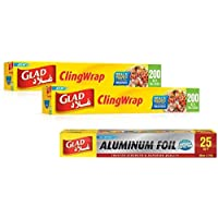 Glad Cling Wrap 2-Piece  200 Sq. Ft.   Aluminum Foil Free 25 Sq Ft
