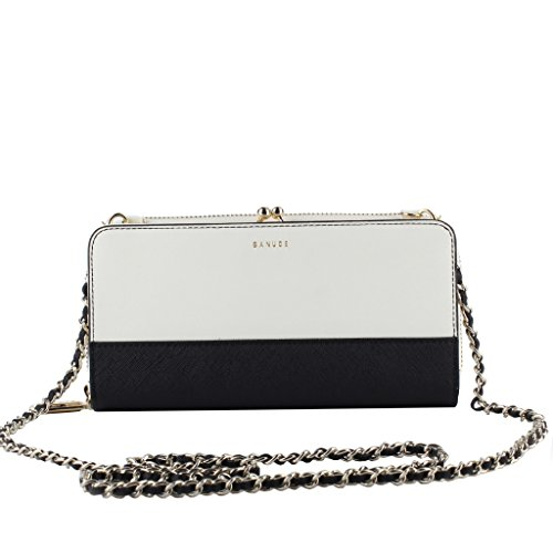 Banuce Shoulder Clutch Crossbody Purse for Women Organizer Small Genuine Leather Chain Wallet
