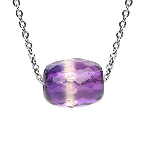(iSTONE Faceted Amethyst Barrel Bead Pendant Necklace for Peace and Luck 18 Inch Chain)