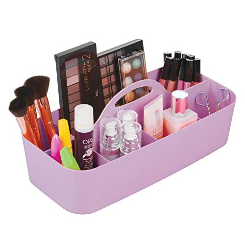 mDesign Plastic Portable Makeup Organizer Caddy Tote, Divided Basket Bin with Handle, for Bathroom Storage - Holds Blush Makeup Brushes, Eyeshadow Palette, Lipstick - Extra Large - Wisteria Purple -