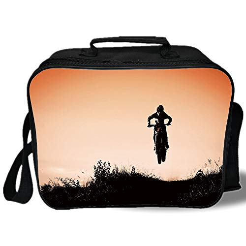 Teen Room Decor 3D Print Insulated Lunch Bag,Motorcycle Jumping over Hills Horizon Sports Hobby Scenery,for Work/School/Picnic,Salmon Vermilion Seal Brown