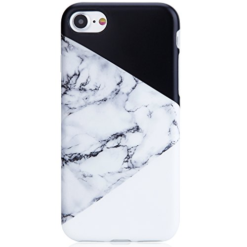 iPhone 7 Case,iPhone 8 Case,VIVIBIN Cute Black White Marble for Men Women Girls Clear Bumper Best Protective Shockproof Soft Silicone Rubber Matte TPU Cover Slim Fit Thin Phone Case for iPhone 7/8
