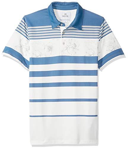28 Palms Men's Standard-Fit Performance Cotton Tropical Print Pique Golf Polo Shirt, White/Blue Vintage Floral Stripe, Medium