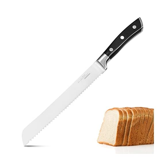 Bread Knife Serrated Slicer Kitchen Knife 8 Inch Forged Scalloped Blade High Carbon Stainless Steel Razor Sharp Ergonomic Handle Non Slip 1 German high carbon stainless steel - The 8 inch bread knife blade precisely forged by high quality stainless steel X50CrMoV15 / 1.4116 at 58 Rockwell Hardness, It is wear resistant, durable, rust and stain resistant Multi-functional knife - The bread slicer easy to cut bread, cake, pastries, tomatoes, pineapple etc, the serrations along the edge help you to slice through crusty bread with minimal crumbs and without compressing the soft inside Razor Sharp Serrated Edge - The forged serrated edge blade is super sharp and keeps the sharpness long, do not need to sharpen it like other knives