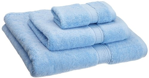 Solid Combed Towel Set (Superior 900 GSM Luxury Bathroom 3-Piece Towel Set, Made of 100% Premium Long-Staple Combed Cotton, Hotel & Spa Quality Washcloth, Hand Towel, and Bath Towel - Light Blue)