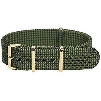 Momentum 20 mm Gold Plated Buckle Nato Strap, Green