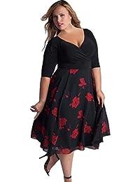 Hot Sale! Women Plus Size Floral V Neck Short Sleeve Cocktail Evening Party Swing Midi Dress
