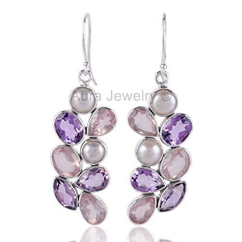 925 Sterling Silver Earrings for Womens & Girls, Drop & Dangle Earrings, Rose Quartz, Pearl, Amethyst Earrings Sterling Silver for Womens & Girls, Gift for Womens, Bridesmaid Gift, Handmade Jewelry ()