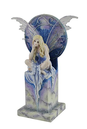 Resin Statues Shimmer By Selina Fenech Blue Sky Fairy Perched On Marble Thrown Statue 6.25 X 9 X 3.5 Inches Light Blue ()
