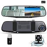 Ispring ドライブレコーダー 4.3インチ液晶 バックミラー型 140度広角 Gセンサー搭載 駐車監視 動き検知 常時録画
