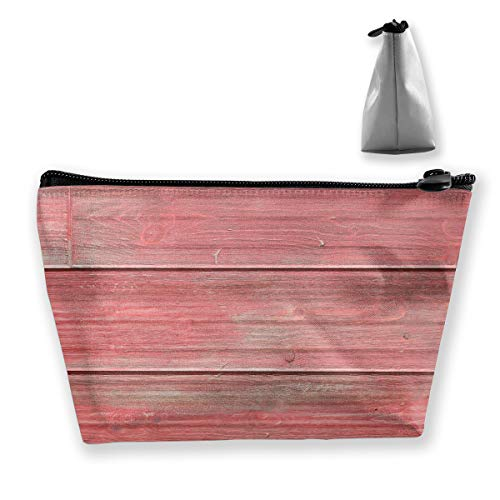 RobotDayUpUP Weathered Red Barnwood Womens Travel Cosmetic Bag Portable Toiletry Brush Storage Durable Pen Pencil Bags Accessories Sewing Kit Pouch Makeup Carry Case
