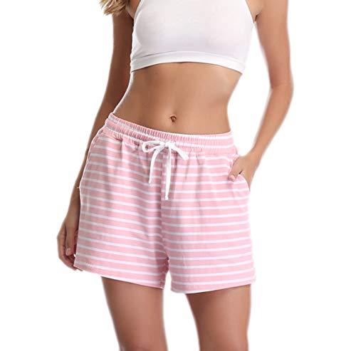 - Vlazom Women's Pajama Bottoms Cotton Shorts Sleepwear Stripes Lounge Pants with Pockets Drawstring