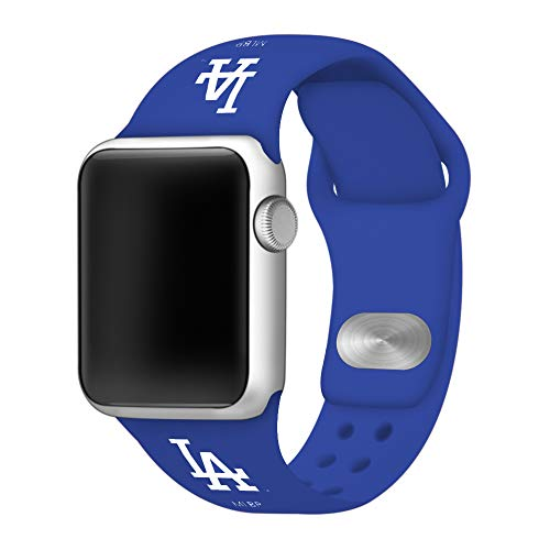 (GAME TIME Los Angeles Dodgers Silicone Sport Band Compatible with Apple Watch 38mm/40mm Royal Blue)