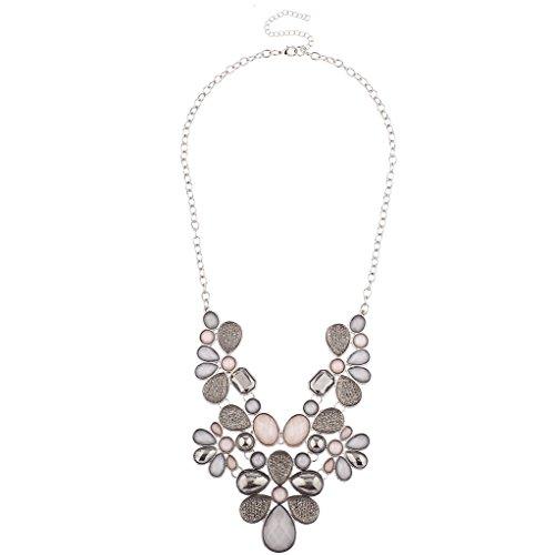 Necklace Blush (Lux Accessories Caviar Glitter Shimmer Teardrop Stone Bib Statement Necklace)