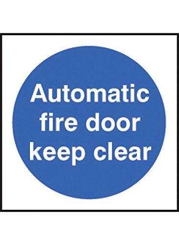 Caledonia Signs 59704 Auto Fire Door Keep Clear 100 S/A Etikett, 100 mm x 100 mm