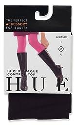 HUE Women\'s Super Opaque Control Top Tight, Black, Size 2