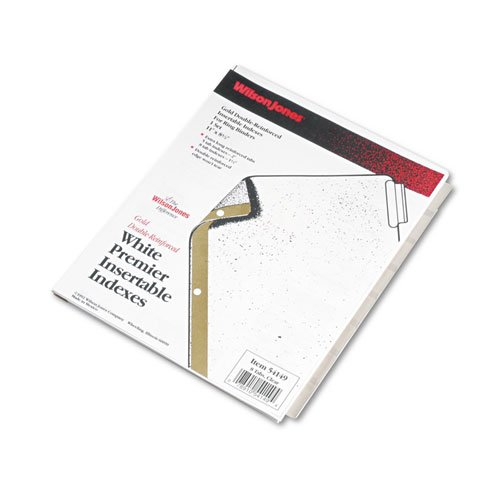 Gold 3 Ring White And - Wilson Jones Insertable Dividers - Gold Line, 8-Tab Set, Clear Tabs on White Paper (W54149A)