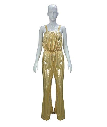 Womens 70s Gold Disco Jumpsuit Costume (L) HC-043 (70s Disco Gold Adult Costume)