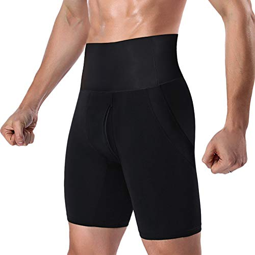 DoLoveY Men's Tummy Shaper High Waist Leg Control Shapewear Waist Slimming Shorts Brief Black
