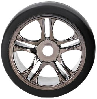 Traxxas 6479 S1 Compound Slick Tires Pre-glued on Split Spoke Black-Chrome Wheels (front) (pair)