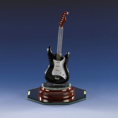 Miniature Black Electric Rock Guitar Swarovski Crystal Hand Crafted Cherry 22k Father's Day