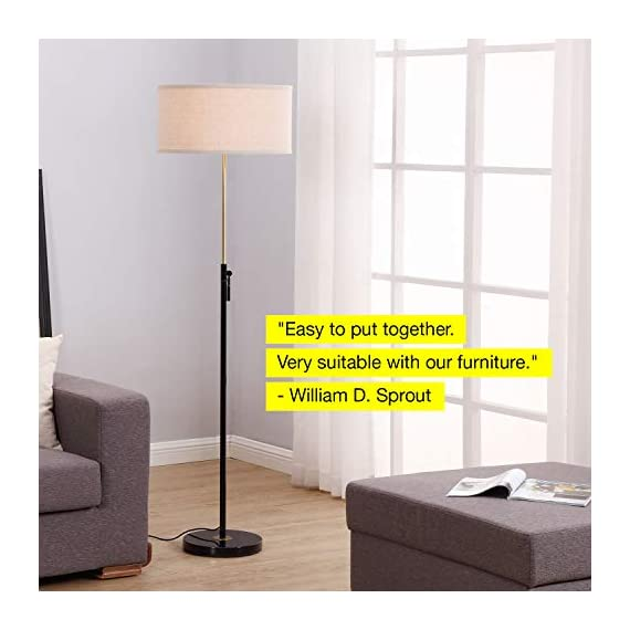 """Brightech Telescope - Black & Gold Modern Floor Lamp for Bedroom - Tall, Height Adjustable Pole Light for Living Room & Office Lighting - Standing Lamp, Antique Brass - with LED Bulb - UNIQUE MODERN DESIGN THAT LOOKS GREAT WITH ANY DECOR: The Brightech Telescope LED Floor Lamp is stylish, unique, and convenient too, and will get your guests talking about all its amazing features. The gold accents on the pole, base, and socket stand out in either color and create a touch of elegance in any space. The height adjustable pole means that you can set the scene exactly how you want it. It's pairs well with modern, minimalist, contemporary, and rustic decor schemes. BEAUTIFUL WARM LIGHT FOR HOME & OFFICE; FITS IN NARROW SPACES An alternative to unpleasant overhead lights, the Telescope LED lamp provides soft yet plentiful room lighting to enlighten your indoor space. It's perfect for bedrooms or living rooms, and the slim design allows for easy placement. It fits perfectly behind sofas or next to end tables, to shine overhead with a warm, inviting glow that isn't harsh or glaring. SPECS: ALEXA & GOOGLE COMPATIBLE, HEAVY BASE, 65"""" TALL: Works with smart outlets that are Alexa, Google Home Assistant, or Apple HomeKit enabled, to turn on/off. (Requires smart outlet sold separately.) Brightech designed this lamp with safety in mind. Its weighted base keeps it from tipping easily. Shade 9"""" tall by 18"""" diameter. - living-room-decor, living-room, floor-lamps - 416379YTxqL. SS570  -"""