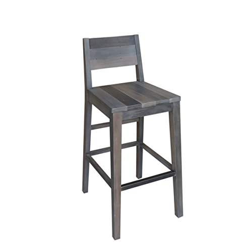 Trica Kitchen Chair (Kosas Home Oscar Rustic Charcoal Grey Handcrafted Recovered Shipping Pallets 30-inch)